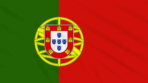 Portugal flag waving cloth background, loop Animation