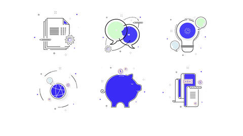 Color Line Icons Set After Effects Template