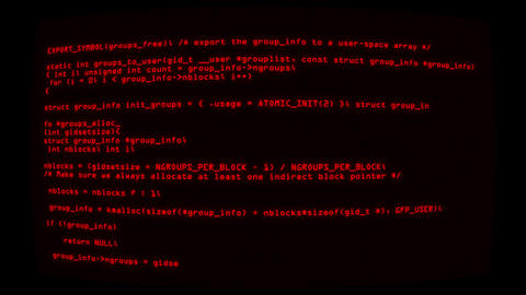 Red Hacker Text Code on Screen Graphic Element Background Animation