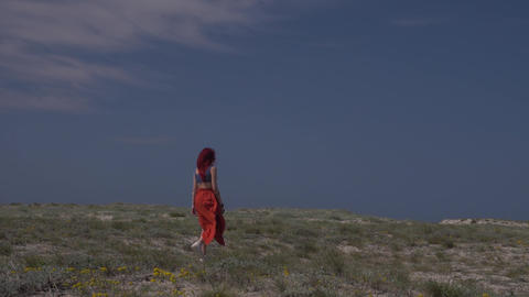 rear view of a red-haired young woman in a red skirt walking against a blue sky Footage