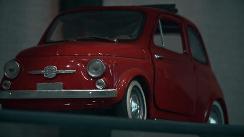 Small models of first Fiat 750 real cars Footage