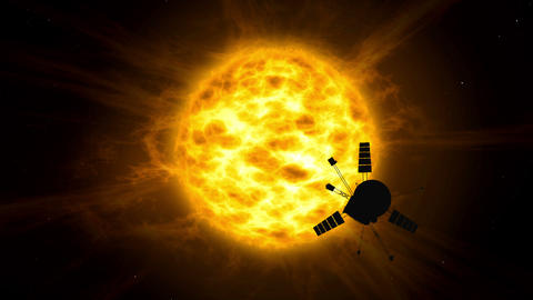 Distant solar system spacecraft exploration Animation