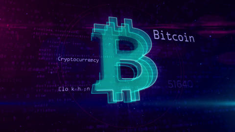 Bitcoin cryptocurrency abstract concept Animation