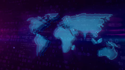 Cyberspace digital concept with world map Animation