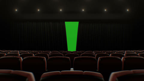 Cinema Hall Moving Through Over the Seats to the Opening Curtain and Screen Footage