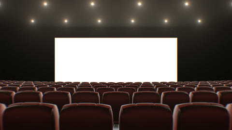 Wide Screen in Cinema Hall Moving Through Over the Seats. Beautiful 3d Animation Footage