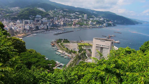 Japan's tourist destination. Cityscape of Atami Footage