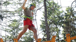 Man climbing in Adventure Park Footage
