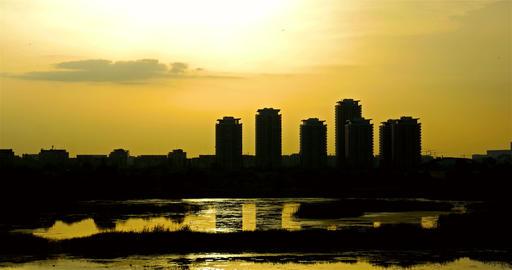 Timelapse Sunset Over Bucharest City Skyline In Romania Footage