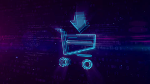 Internet marketing symbol with shopping cart Animation