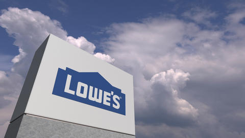Logo of LOWE'S on a stand against cloudy sky, editorial 3D animation Live Action