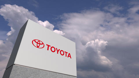 TOYOTA logo against sky background, editorial 3D animation Live Action