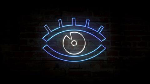 Eye neon modern symbol on brick wall Animation