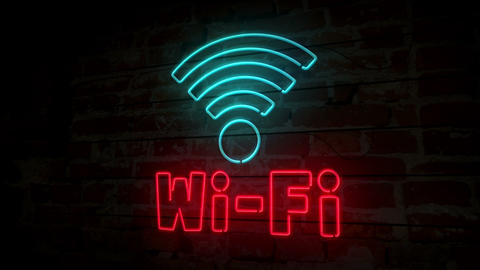 Wi-fi neon symbol on brick wall Animation