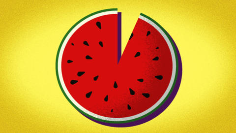 pattern of a drawn watermelon, representation for summer holidays Live Action