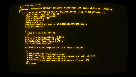 Yellow Keylogger C++ Code on Screen Graphic Element Background Animation