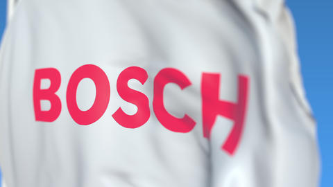 Flag with Robert Bosch GmbH logo, close-up. Editorial 3D rendering Live Action