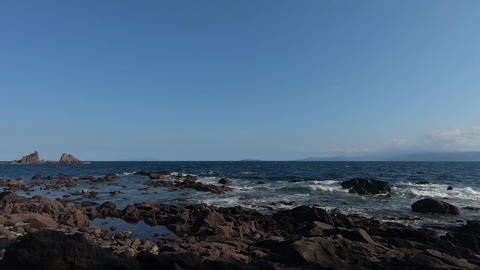 Sunny weather and rocky seaside Footage