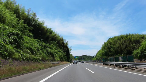 Driving picture. Highway surrounded by greenery Footage