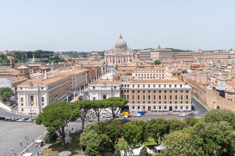 Panoramic view of Rome and St. Peter's Basilica from the Saint Angel Castle Photo