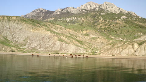 Panorama aerial view from sea. Majestic wooded mountains and rocky cliffs on shore. Dark still sea Live Action