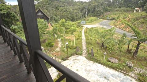 Camera Moves along Balcony Shows Landscape at Yersin House Footage