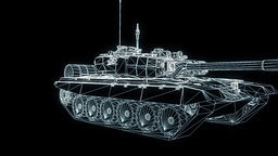 3D Tank Hologram Wireframe in Motion. Nice 3D Rendering Stock Video Footage