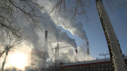 Smoke from industrial pipes Bad ecology Footage