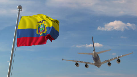 Airliner passing above national flag of Ecuador. Ecuadorian air transportation Footage