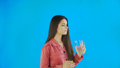 Caucasian teen female girl drinking glass of water. Young... Stock Video Footage