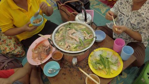 JSP-0495 Thai Street food family Footage