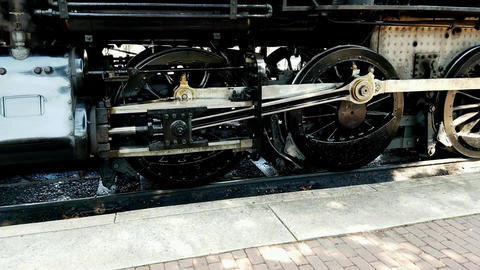 Steam Train Drive Gear as Train Backs Out Live Action