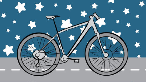Bicycle scetch and stars background Animation