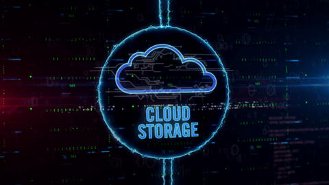 Cloud storage hologram in electric circle Animation