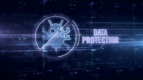 Data protection blue hologram Animation