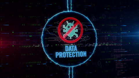 Data protection hologram in electric circle Animation