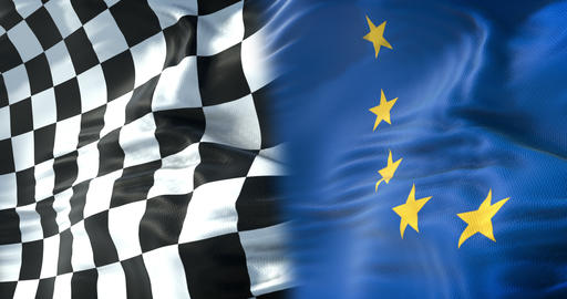 half flags of checkered flag, end race and half European Union flag, europe sport formula one Footage