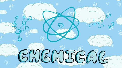 Chemicals elements on sky back Animation