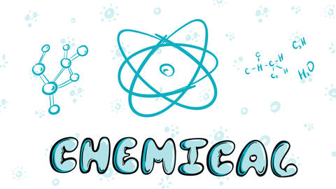 Chemicals elements on white blue Animation