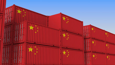 Container terminal full of containers with flag of China. Chinese export or Live Action