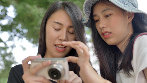 Slow motion Happy Young Asian Couple Smiling And Taking… Stock Video Footage
