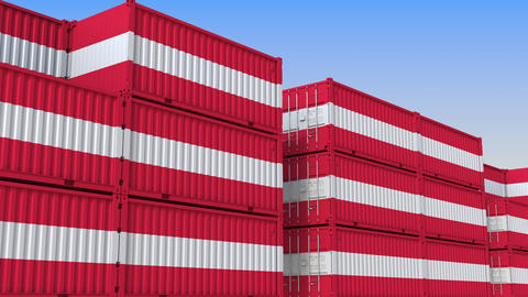 Container yard full of containers with flag of Austria. Austrian export or Live Action