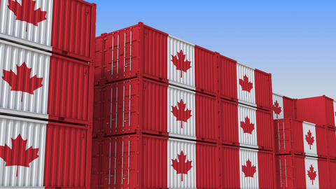 Container terminal full of containers with flag of Canada. Canadian export or Live Action