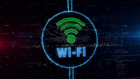 Wifi communication hologram in electric circle Animation