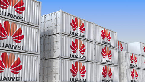 Container yard full of containers with logo of Huawei. Export or import related Live Action