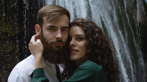 portrait of a loving handsome couple of a man with a beard and a woman with Footage