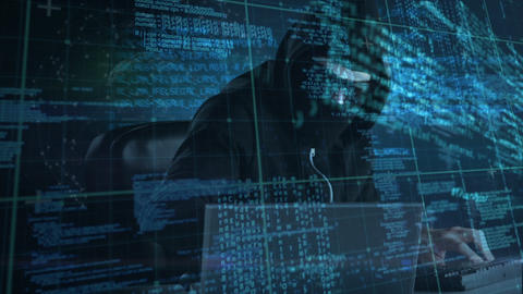Male hacker using computer to hack the system and coding…, Stock Animation