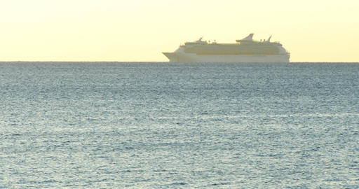 Time lapse cruise ship sailing across the Mediterranean sea horizon with clear Footage