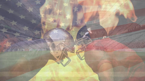 Rugby players standing head to head with animated fire burning and American flag waving on the backg Animation