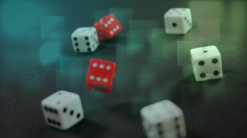 Red dice falling down Animation